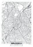 Mapa detallado Bruselas de la ciudad del cartel del vector ilustración del vector
