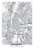 Mapa detallado Budapest de la ciudad del cartel del vector ilustración del vector