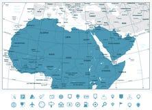 Mapa detallado de África septentrional y el Oriente Medio y el navigati stock de ilustración