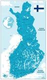 Mapa detallado de Finlandia ilustración del vector