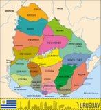 Mapa detallado de Uruguay con regiones libre illustration