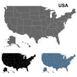 Mapa detallado los E.E.U.U. fijado en negro, azul y gris Foto de archivo libre de regalías