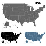 Mapa detallado los E.E.U.U. fijado en negro, azul y gris Libre Illustration