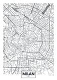 Mapa detallado Milán de la ciudad del cartel del vector libre illustration