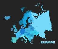Mapa detallado moderno de Europa Fotos de archivo