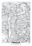 Mapa detallado Praga de la ciudad del cartel del vector libre illustration