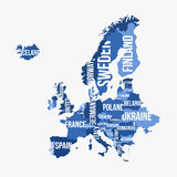 Mapa detallado vector de Europa con las fronteras Fotografía de archivo libre de regalías