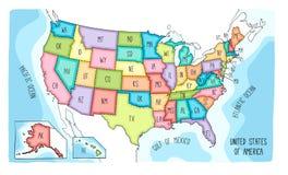 Mapa dibujado mano colorida del vector de los E.E.U.U. stock de ilustración