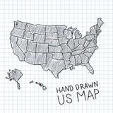 Mapa dibujado mano de los E.E.U.U. Imagenes de archivo