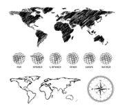 Mapa dibujado mano del mundo Fotos de archivo