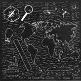 Mapa dibujado mano del mundo Foto de archivo libre de regalías