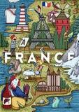 Mapa dibujado mano divertida de Francia de la historieta con la mayoría de los lugares populares del interés Fotos de archivo libres de regalías