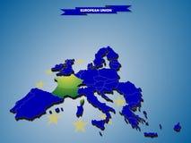 mapa dimensional do infographics 3 de países da União Europeia ilustração stock