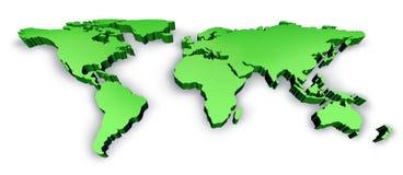 Mapa dimensional do Wold do verde 3D ilustração stock