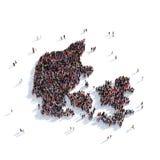 Mapa Dinamarca da forma do grupo dos povos Foto de Stock