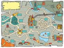 Mapa divertido del tesoro stock de ilustración
