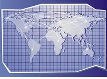 Mapa do azul do mundo Imagens de Stock Royalty Free