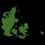 Mapa do código binário de Dinamarca Imagem de Stock Royalty Free