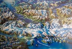 Mapa do campo de gelo patagonian do norte, o Chile fotos de stock
