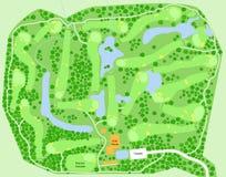 Mapa do campo de golfe ilustração royalty free
