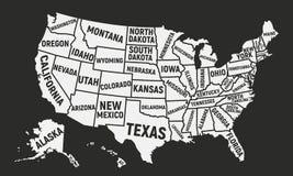 Mapa do cartaz dos EUA com nomes do estado Mapa de Estados Unidos da Am?rica Fundo americano ilustração do vetor