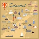 Mapa do centro histórico de Istambul ilustração royalty free