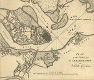 Mapa do cerco de Charleston, South Carolina, Imagem de Stock