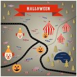 Mapa do circo de Dia das Bruxas com palhaços, abóboras, floresta, lago imagem de stock