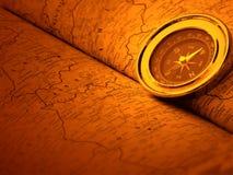 Mapa do compasso e de mundo Imagens de Stock