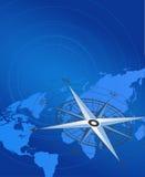 Mapa do compasso e de mundo ilustração royalty free