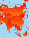 Mapa do continente asiático Fotografia de Stock