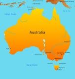 Mapa do continente australiano Fotografia de Stock