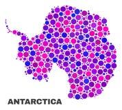 Mapa do continente da Antártica do mosaico de pontos redondos ilustração stock