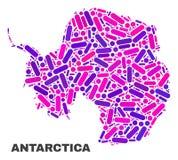 Mapa do continente da Antártica do mosaico dos pontos e das linhas ilustração royalty free