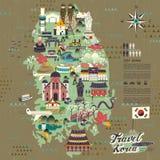 Mapa do curso de Coreia do Sul ilustração do vetor