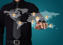 Mapa do curso do mundo Imagem de Stock