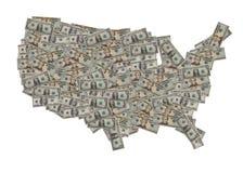 Mapa do dólar americano Imagem de Stock