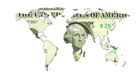 Mapa do dólar do mundo Foto de Stock