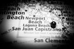 Mapa do destino do curso de Califórnia do Laguna Beach fotos de stock royalty free