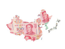 Mapa do dinheiro de Ásia pela moeda asiática para a finança Foto de Stock