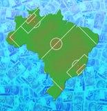 Mapa do dinheiro de Brasil (futebol) Fotos de Stock