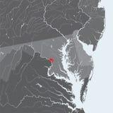 Mapa do distrito de Columbia com lagos e rios Foto de Stock