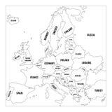 Mapa do esboço de Europa Mapa simplificado do wireframe de beiras alinhadas do preto Ilustração do vetor ilustração do vetor
