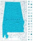 Mapa do estado de Alabama Imagem de Stock Royalty Free