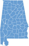 Mapa do estado de Alabama por condados Fotografia de Stock Royalty Free