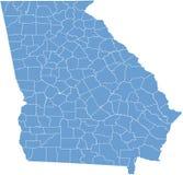 Mapa do estado de Geórgia EUA por condados Fotografia de Stock Royalty Free