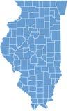 Mapa do estado de Illinois por condados Fotografia de Stock Royalty Free