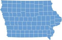 Mapa do estado de Iowa por condados Fotos de Stock