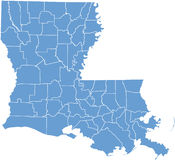 Mapa do estado de Louisiana por condados Imagens de Stock Royalty Free