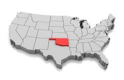 Mapa do estado de Oklahoma, EUA ilustração royalty free